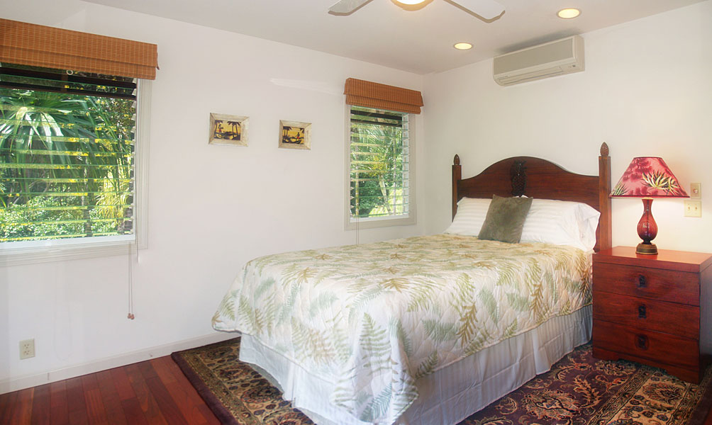 Third bedroom has a view of the fruit orchard.