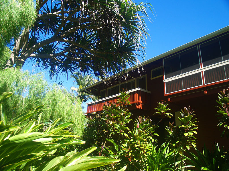 Looking up to the River House from the riverbank. The hot tub is on the screened lanai.